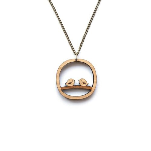 One Happy Leaf Love Birdies Necklace