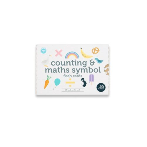 Two Little Ducklings counting and maths symbol flash cards front