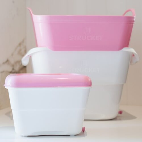 Mini Strucket Bucket pink white
