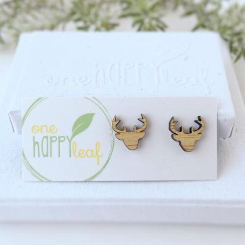 one happy leaf reindeer studs